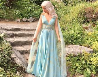 Game of Thrones Daenerys Qarth Dress - Cotton Blend - Khaleesi Gown Fantasy Cosplay