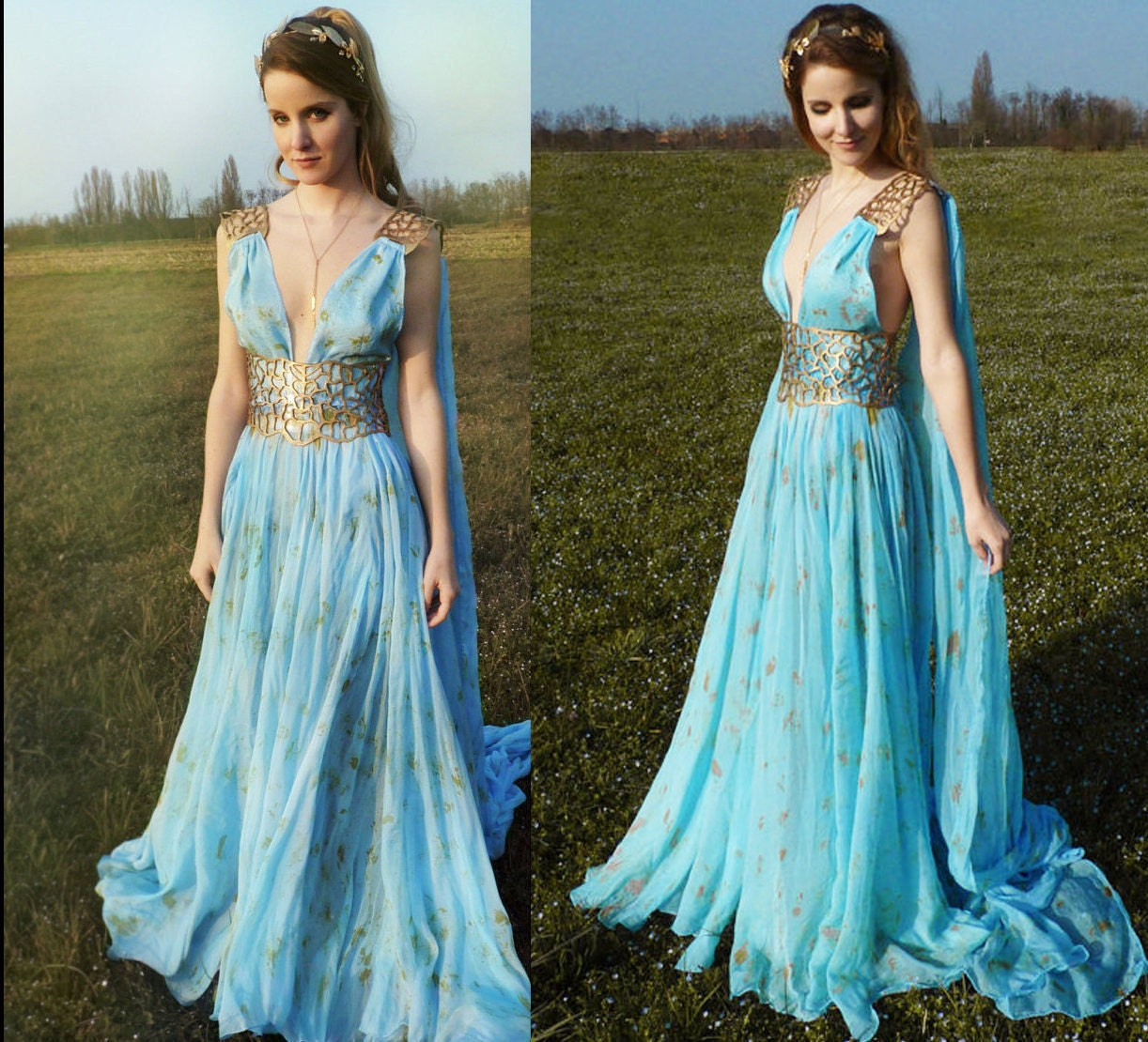 Daenerys Qarth Costume Blue Dress With Belt Thrones