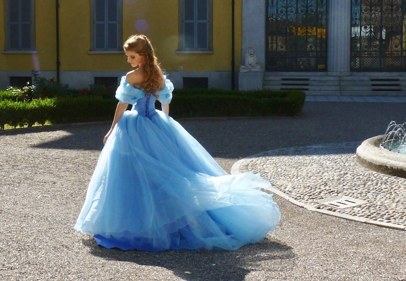 be977f35c6d Cinderella Blue Ball Gown Halloween Costume Cosplay