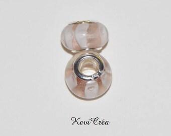 1 x Pearl Pink White Murano Lampwork Glass Pandora style