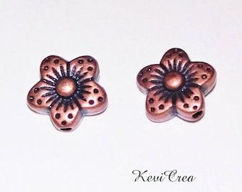 14 x flower copper metal beads