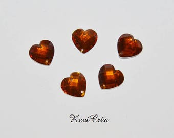 10 x 12mm amber rhinestone sewing hearts
