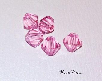 5 x Crystal bicone 6 mm Swarovski pink