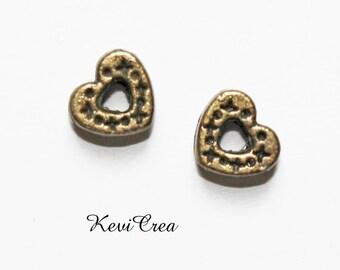 10 x beads bronze metal heart