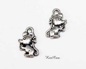 20 x silver mouse charms charms