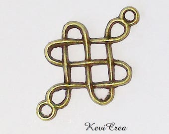 4 x bronze Chinese knot connectors