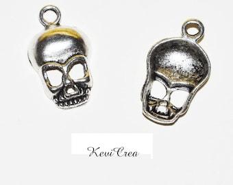 10 x charms silver metal skull charms