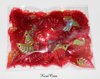 1 x sequins red leaf - 8 g - bag to sew