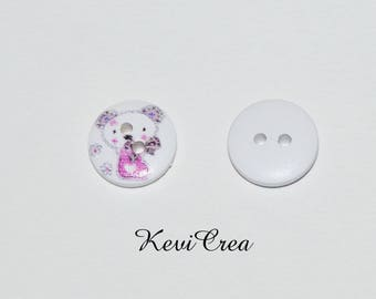 5 x white Teddy bear in a boot 15mm wooden buttons