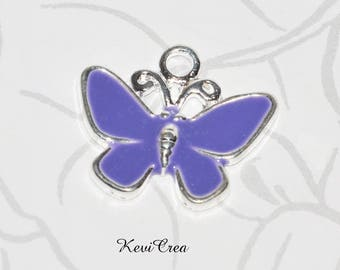 2 x charms Butterfly purple enameled metal charms
