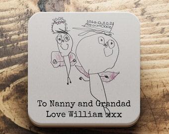 Children's drawing coaster, Christmas kids art gift, Custom gift for mum, custom gift Dad, coaster for grandparents, Christmas Famiily gift