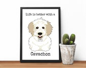 Cavachon dog print, Wall ...