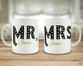 Mr and Mrs mugs, custom w...
