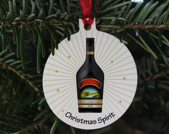 Christmas spirit bauble, Bailys bauble,  pun Christmas decoration, Alcohol Xmas bauble