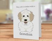 Cavachon dog card, card f...