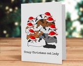 Cat Christmas card, Crazy...