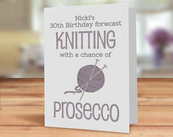 Knitting card, Knitters card, Birthday forecast - knitting with a chance of wine/prosecco, Knitters Birthday card, Knitting and wine card