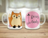 Foxy lady mug, Cute fox m...
