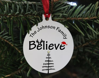 Believe family Christmas bauble, Christmas 2021, We believe Christmas bauble gift, Family Christmas ornament, Personalised  bauble gift