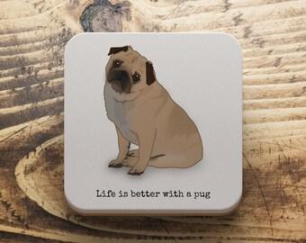 Pug coaster, Personalised Pug coaster, Pug owner gift, Pug Birthday gift, Pug Christmas gift, Secret Santa gift, Stocking filler,
