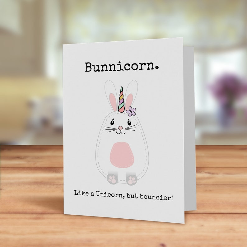 Bunny Card Bunnicorn Funny Rabbit Pun Unicorn
