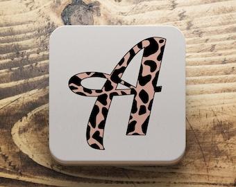 Leopard print coaster, Letter coaster, Monogram coaster, custom coaster, BFF gift, gift for her, Secret Santa gift, Stocking filler