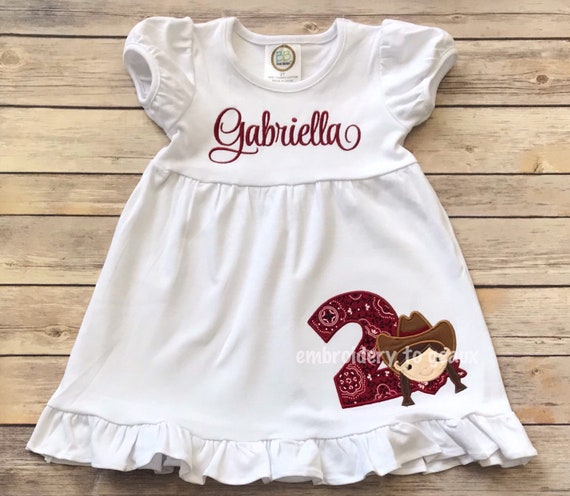 Cowgirl Birthday Dress Outfit Girls