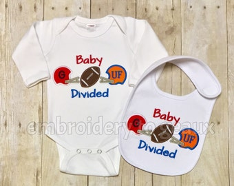 Baby Divided Bodysuit and Bib Gift Set- House Divided Bib and Bodysuit--Customize for Most Teams