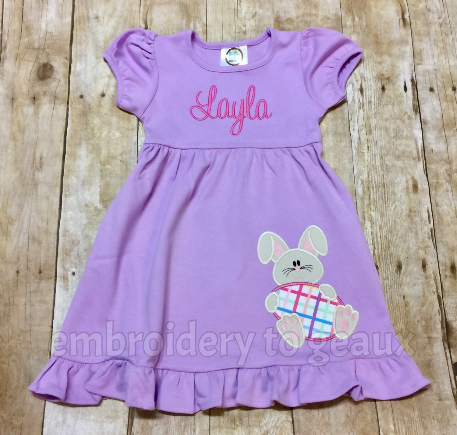 b73103bf31ae Girls Easter Dress Personalized Easter Bunny Girls Ruffle
