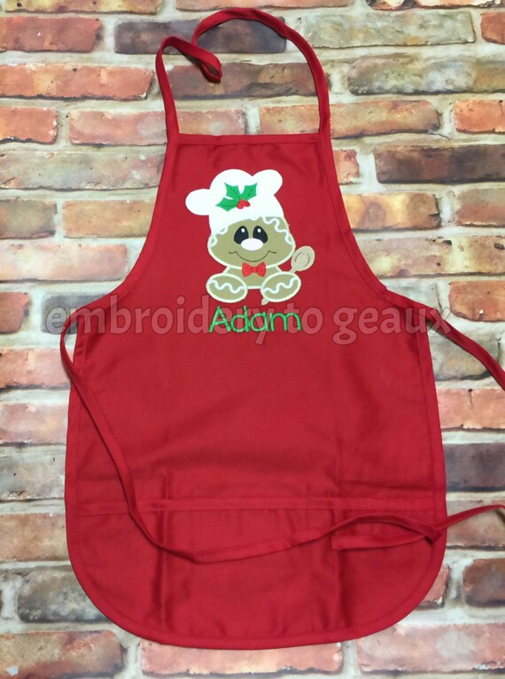 Brown and Red Gingerbread Boy Christmas Apron