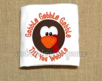 Gobble Gobble Gobble Turkey Face Applique Thanksgiving Child's T-Shirt or Infant Bodysuit-Boys Thanksgiving Shirt-Turkey Shirt