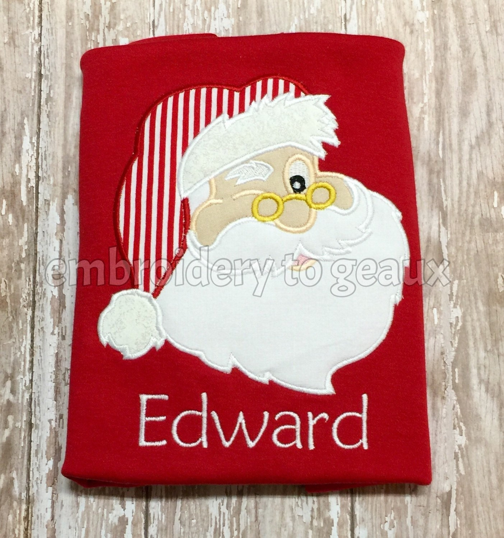 Personalized Boy s Santa Applique Christmas Red T-shirt or  e8fa66512