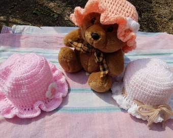 Spring pastels, hand-crafted baby crochet hats