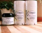 Skin & Body Package- Everyday Facial Moisturizer 2 oz., Clove and Orange Deodorant, and Patchouli Lime Deodorant 2.65 oz. Hand made