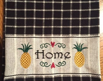 Pineapple Kitchen Towel, Home, Embroidered Pineapple