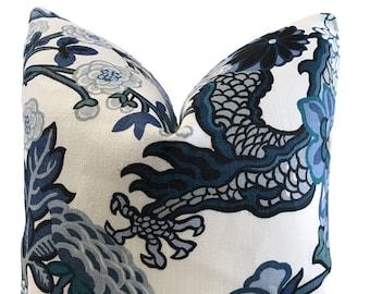 Chiang Mai Pillow - Schumacher Pillow - Dragon Pillow - Chinoiserie Pillow - Chiang Mai China Blue -  ONE SIDE - Decorative Pillow Covers