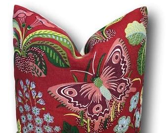 Exotic Butterfly Red Pillow Cover - Schumacher Pillow - Decorative Pillow - Josef Frank - Floral Pillow - Butterfly Pillow COVER ONLY