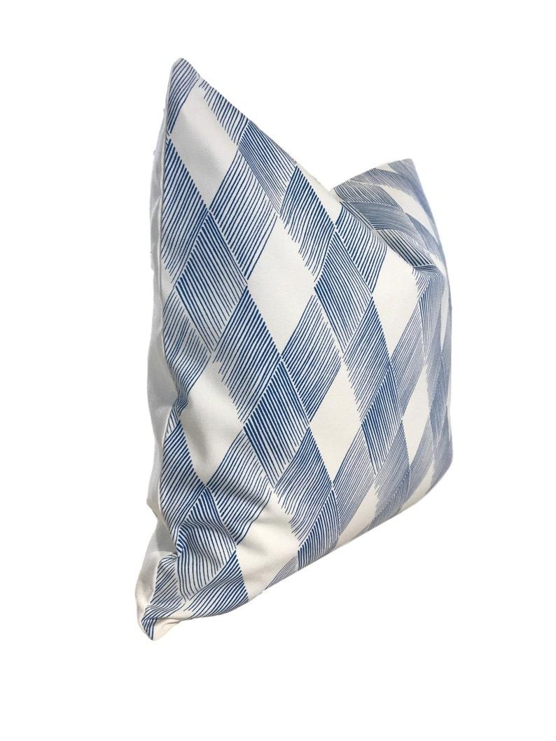 Blue Geometric Pillow Blue Schumacher Pillow COVER ONLY Schumacher Diamond Pillow Fetlock Pillow Cover