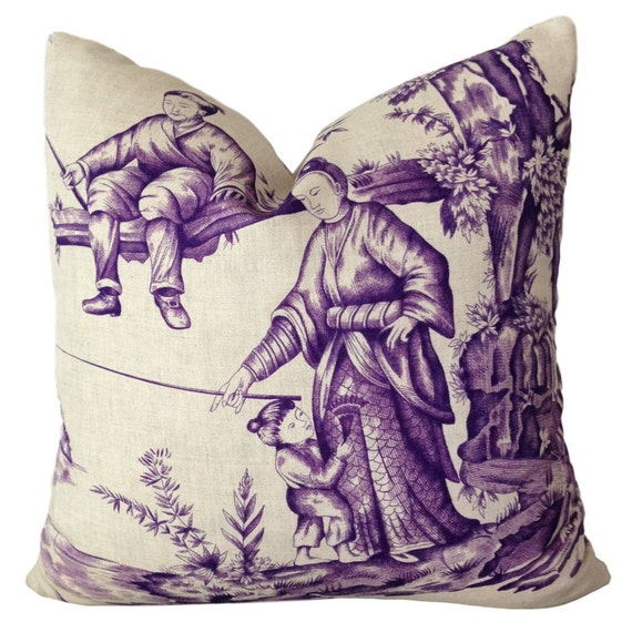 Shengyou Toile Iris Pillow Cover W Linen On Reverse Purple Etsy