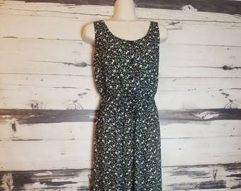 Vintage 1990s Basic Editions Black Floral Overalls Jumpsuit Palazzo Pantsuit Wide Leg Overalls Boho Grunge Hippie Small