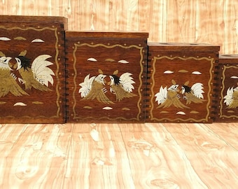 Vintage Dark Finish Wood Nesting Canisters With Handpainted Roosters   Set  Of 4   Country Kitchen   Rustic Kitchen   Chicken Canisters