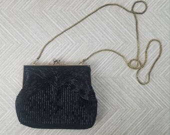 0db2916d463b Vintage Black Beaded Art Deco Purse with Rope Chain by Magid Beaded Clutch  Evening Bag