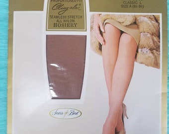 b0d3e67ed Vintage Deadstock Sears Cling-alon Seamless Mesh Knit Stretch Nylon  Stockings Size A - 8 1 2 - 9 1 2