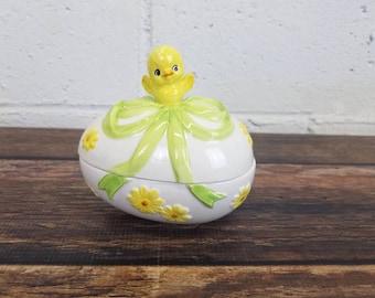 Vintage Lefton Chick On An Easter Egg Candy Dish Lefton Easter Chick Vintage Holiday Decor Vintage Easter Kitsch Anthropomorphic Easter Egg