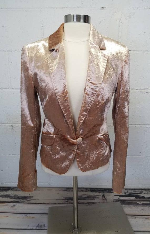 Vintage 90s Pink Crushed Velvet Blazer