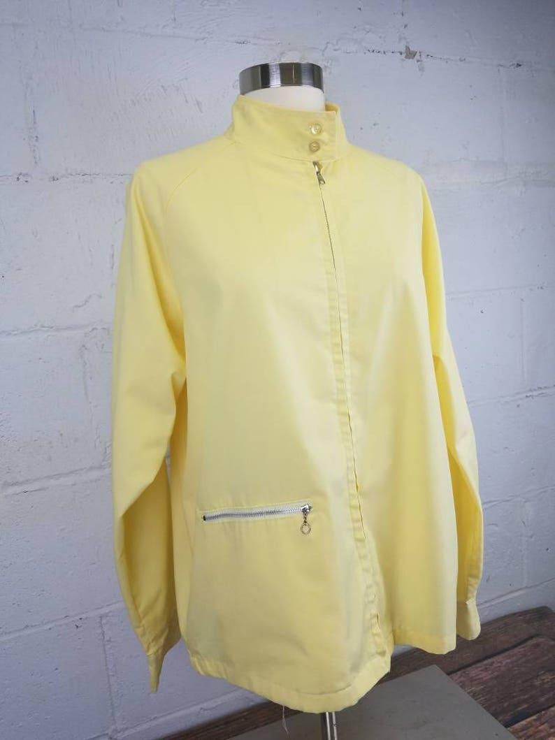 Vintage 1960s Yellow Grant/'s Department Store Yellow Zip Front Windbreaker Jacket with Zip Front Pocket