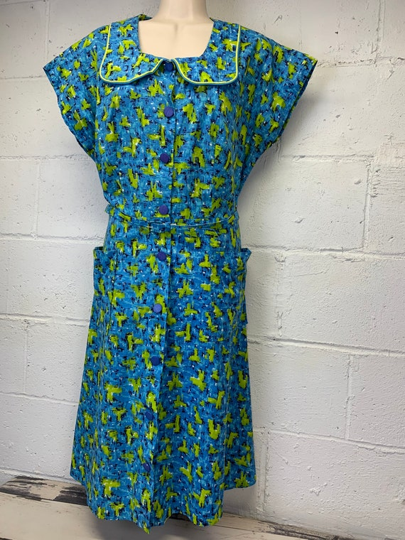 Vintage 50s Polished Cotton Day Dress Sandra Lee Frocks Atomic Abstract Novelty Print Dress With Pockets Peter Pan Collar Large