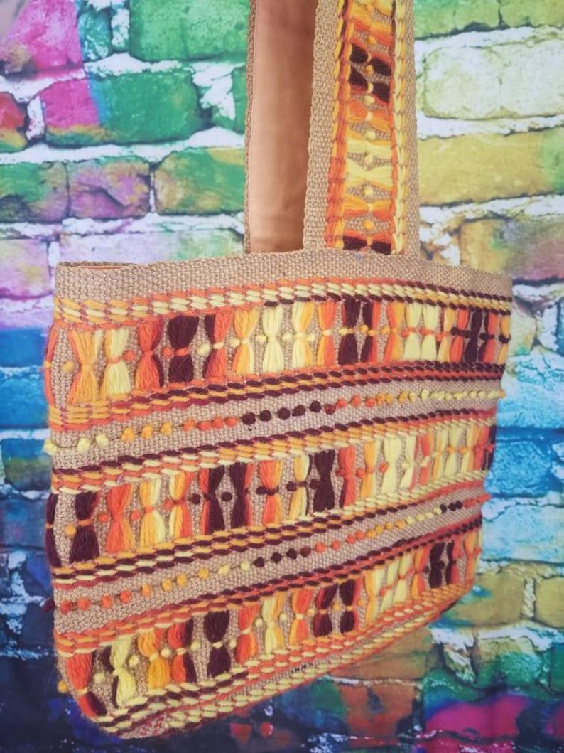 Vintage Embroidered Burlap Market Tote Bag Burlap Crewel Purse Burnt Orange