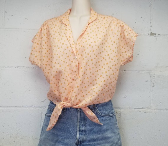 Vintage 70s 80s Tie Front Cropped Floral Blouse by
