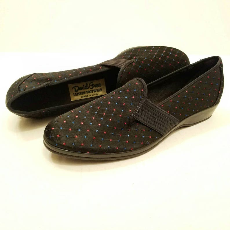 d0abfb7d6df36 Vintage New Old Stock Unworn Daniel Green Leisure Footwear Black Satin  Brocade Slip On Shoes with Glitter - Black Vintage Flats